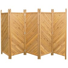 5-tlg Holzparavent 300 cm x 180 cm