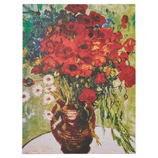 Red Poppies & Daisies by Vincent Van Gogh Framed on Canvas