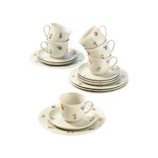 18-tlg. Kaffeeservice Marieluise elfenbein Blütenmeer  aus Porzellan