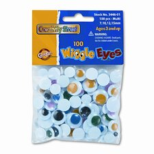 Wiggle Eyes Assortment, Assorted Colors, 100 Pieces per Pack (Set of 3)