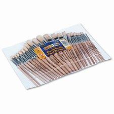 Natural Bristle Preschool Brushes, Hardwood Handles, Assorted Sizes, 24 per Set
