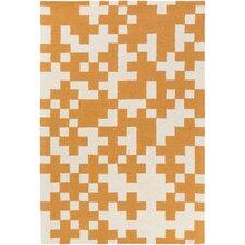 Hilda Beatrix Hand-Crafted Orange/White Area Rug