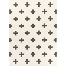Hilda Monica Hand-Crafted White/Black Area Rug