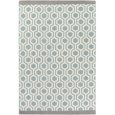 Hilda Eva Hand-Crafted Aqua/Gray Area Rug