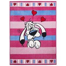 Handgewebter  Teppich Printus in Pink