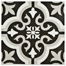 "Lima 7.75"" x 7.75"" Ceramic Patterned/Field Tile in Black/Gray"