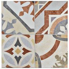 """Hydraulic 13"""" x 13"""" Ceramic Patterned/Field Tile in Beige/ Terracotta"""