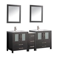 "Argentina 60"" Double Sink Bathroom Vanity Set with Mirror"