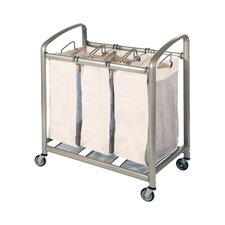 Deluxe Mobile 3 Bag Heavy Duty Laundry Hamper Sorter