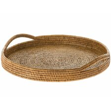 Handwoven Round Serving Tray