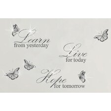 Swarovski with Grey Learn Live Hope Quote for Living Room Wall Sticker
