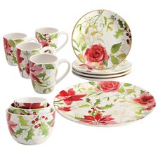 Holiday Porcelain Complete Tabletop 12 Piece Dinnerware Set, Service for 4