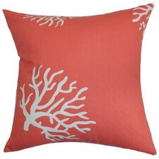 Jessamine Coral Cotton Throw Pillow Cover