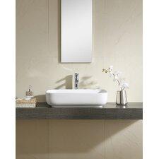 Vitreous China Thin Edge Rectangular Vessel Bathroom Sink