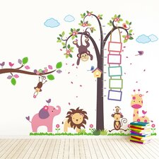 Nursery Monkey Height Measure with Huge Elephant Wall Sticker Set