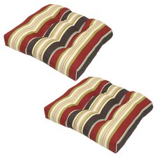 Suzanne Fabric Outdoor Dining Chair Cushion with Ties (Set of 2)