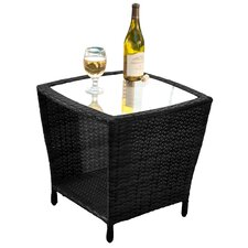 Caro Outdoor Wicker Side Table with Glass Top