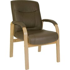Richmond Leather And Wood Visitor's Chair in Brown