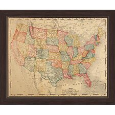 colored map of the united states framed graphic art print on canvas
