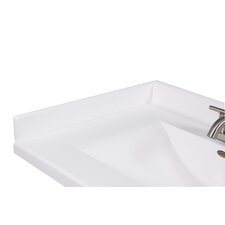 """22"""" X 3"""" Left Hand Side Splash for Wave Style Bathroom Vanity Top in Solid White"""