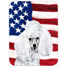Patriotic Toy Poodle with American Flag USA Glass Cutting Board