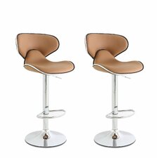 Low Back Adjustable Height Swivel Bar Stool (Set of 2)