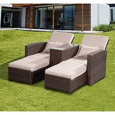 Outsunny Double Sun Lounger with Cushion