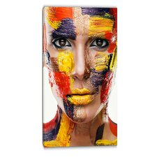 Woman with Colorful Face Contemporary Photographic Print on Wrapped Canvas