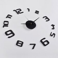3D Frameless Wall Clock in Black