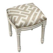 Adan Lattice Linen Upholstered Vanity Stool