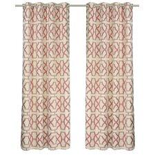 Geometric Semi Sheer Grommet Curtain Panels (Set of 2)