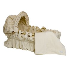 Ivory Velour Moses Basket Bedding Set With Canopy