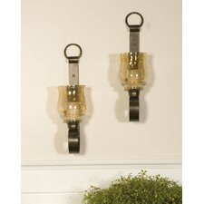 Reitman Iron and Glass Small Wall Sconces (Set of 2) (Set of 2)