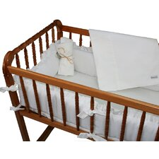 White Eyelet Cradle Bedding Set