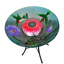 Outdoor Garden Hummingbird Solar Birdbath