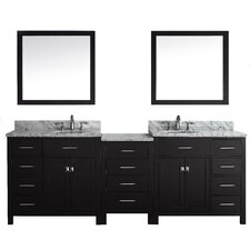 "Stoughton 92.8"" Double Bathroom Vanity Set with Carrara White Top and Mirror"
