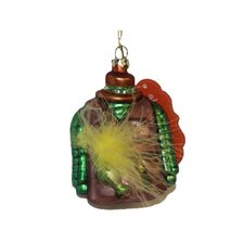 Fisherman's Vest with Feather Glass Christmas Ornament