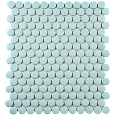 "Retro Penny Round 0.75"" x 0.75"" Porcelain Mosaic Tile in Matte Light Blue"