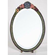Barbola Oval Floral Frame Table Mirror