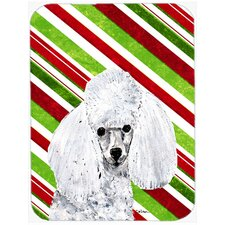 Toy Poodle Candy Cane Christmas Glass Cutting Board