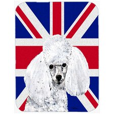 Union Jack Toy Poodle with English British Flag Glass Cutting Board
