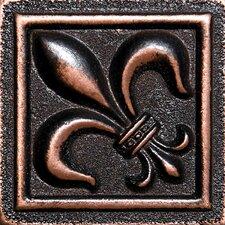 """2"""" x 2"""" Fleur De Lis Deco Accent Tile in Oil Bronze"""