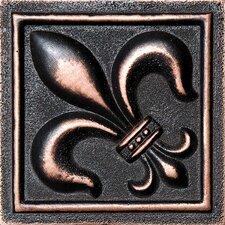 """4"""" x 4"""" Fleur De Lis Deco Accent Tile in Oil Bronze"""