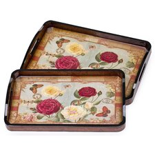 Mount Hope 2 Piece Rose Serving Tray Set