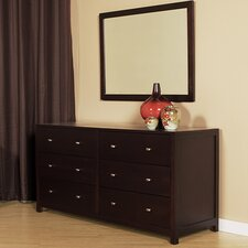 6 Drawer Double Dresser with Mirror