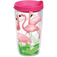 Sun and Surf Lawn Flamingos 16 Oz. Tumbler with Lid