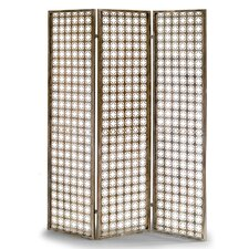 """Abbey 70.6"""" x 56.7"""" Metal Frame Folding Screen Effect 3 Panel Room Divider"""