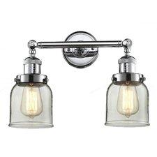 2-Light Glass Bell Wall Sconce