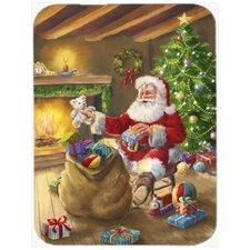 Christmas Santa Claus Unloading Toys Glass Cutting Board