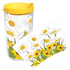Garden Party White Daisies Tumbler with Lid